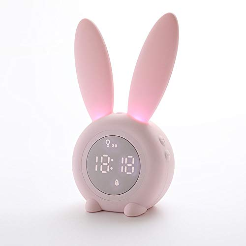 The only good quality Decoracion Lindo Conejo LED Reloj de Alarma temporizado Control de Voz Luz Nocturna Inducción del sueño Temperatura de la luz Carga por USB Villa (Color : Pink)