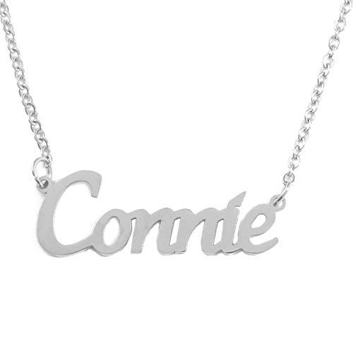 Kigu Connie Gepersonaliseerde Naam Ketting Verstelbare Ketting - Zilveren Toon Verpakking