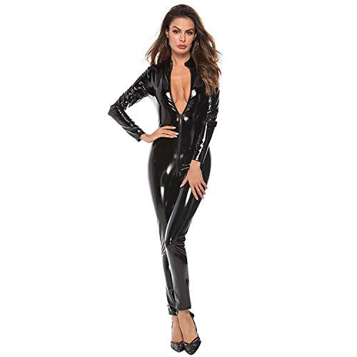 JYCDD Mono Sexy para Mujer Cors PVC Chaqueta De Cuero De Una Pieza Pantalones con Cremallera Cuero Brillante Adulto Cosplay Vestido De Fantasa Mono,Negro,L