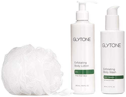 Glytone KP Kit Keratosis Pilaris - Exfoliating Body Wash, Lotion, Shower Pouf, Smooth Rough &...