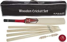 India Made Cricket Set - Holz - Size H - inkl. Wicket - Balls - Tasche