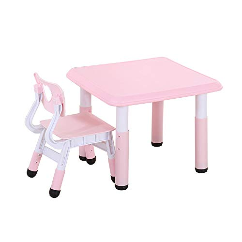 Children's Table and Chair Set, Multifunctional Height-Adjustable Study Table and Chair, 1 Table and 1 Chair with Anti-Skid pad, for Eating, Drawing, Reading, Playing with Blocks/Pink / 60x60C