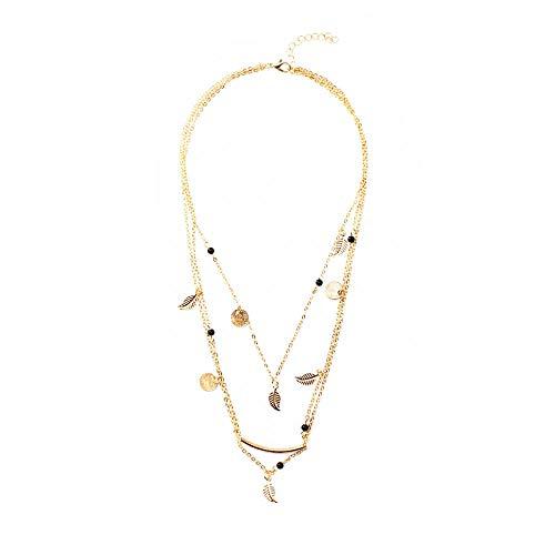 Collar Collar de combinación de múltiples elementos Collar de múltiples capas con colgante de borla de hoja de lentejuelas femeninas
