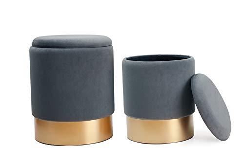 Dipamkar® Set di 2 Sgabello di stoccaggio Sgabello in Velluto Pouf Contenitore in Velluto con Base Dorata, Carico Max. 200 kg (Grigio)