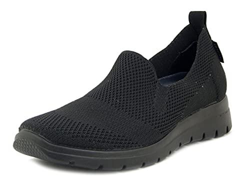 Fly Flot Sneaker Estive in Tessuto Semi Elasticizzato Nero, Plantare Estraibile in Memory Foam, Zeppa Bassa, 27D38