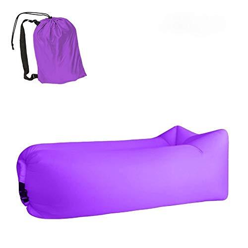 Trend Outdoor Products Fast Infaltable Air Sofa Bed Saco de dormir inflable bolsa de aire Lazy bag sofá playa 240 x 70 cm (negro y morado)