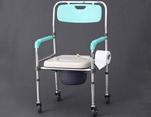 SPFOZ Haus Dekoration Tragbare Mobile Toilettenstühle höhenverstellbarer faltender älterer älterer Sitzkommodestuhl mit Rädern (Color : Light Green)