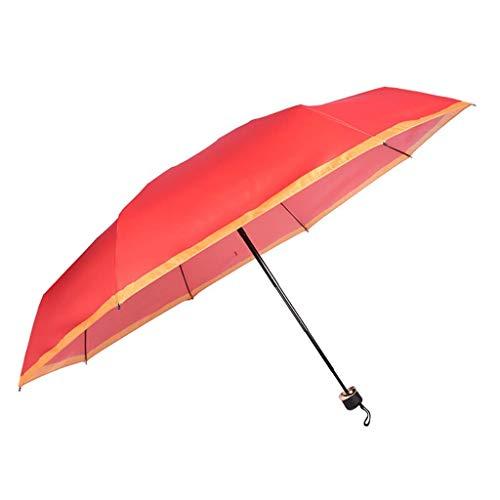 ZHENAO Paraguas Paraguas Protección Sol Plegable Moda Adulto Hombres Y Mujeres Cinco Pliegue Paraguas Paraguas Soleado Reutilizable/A