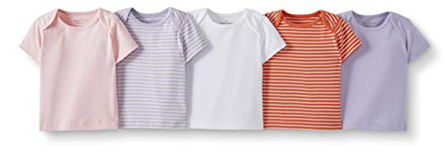 Moon and Back de Hanna Andersson - Pack de 5 camisetas de cuello redondo americano hechas de algodón orgánico para bebé, Rosado, 18-24 messes (77-82 CM)