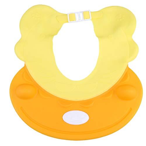 EXCEART Baby Silikon Duschhaube Verstellbare Kleinkinder Shampoo Kappen Hut Sicherheit Bad Visierkappe Bad Sonnenblende Schützen Augen Ohren (Gelb)