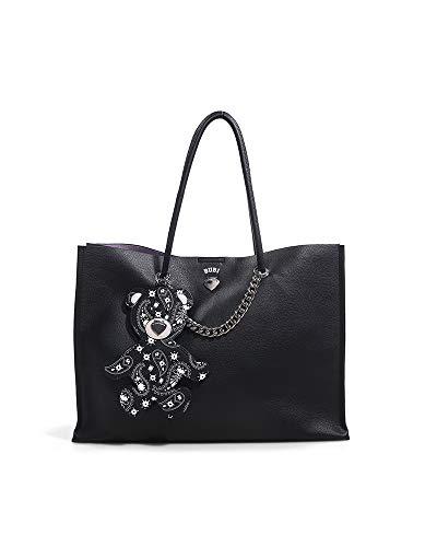 Le Pandorine Shopper Bubi Bag PASSWORD con chiusura a bottone. Applicato al manico ha un simpatico tag staccabile a forma di orsacchiotto. Testo: E' amore quando diventa tutte le tue password. Dimens