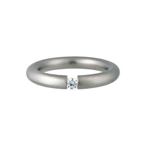 Kadó Ring Changes Edelstahl bombiert matt mit Zirkonia in Farbe kristall 3,5mm 250-3,5-02 (52 (16.6))