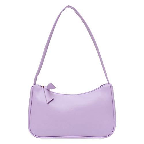 BEAUTYBIGBANG Handtasche Schultertaschen Unterarmtasche für Damen im Retro-Stil Schleife Handtasche PU-Leder Tasche mit Griff oben Taschen mit Tragegriff (Lila)