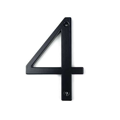 HASWARE Letrero con número de casa, 4 pulgadas (10 cm), números de puerta modernos, placa de señalización, números de dirección de casa, aleación de zinc(4, Negro)