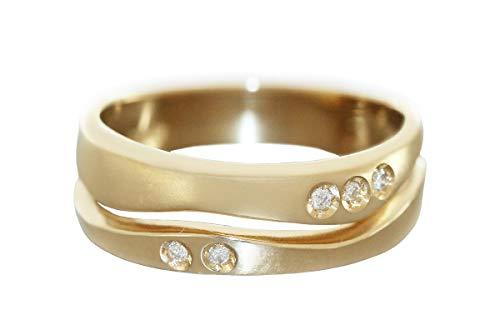 Hobra-Gold Anillo de oro 585 con 5 brillantes de onda armónica de oro de 14 quilates