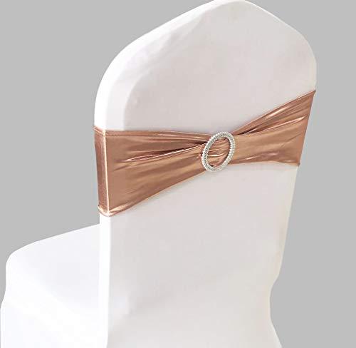 SINSSOWL 100 bandas elásticas para sillas de licra elásticas, lazos para bodas, fiestas, decoración de sillas, fajas, oro rosa, oro rosa