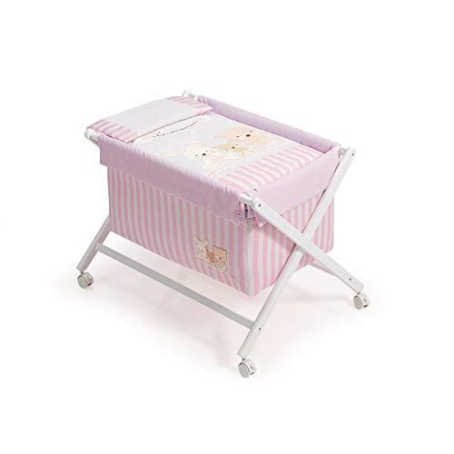 Interbaby Love - Minicuna de madera + textil, color blanco/rosa