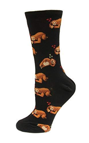 Hot Sox Damen Socken Pizza Faultier Crew - Schwarz - Einheitsgröße