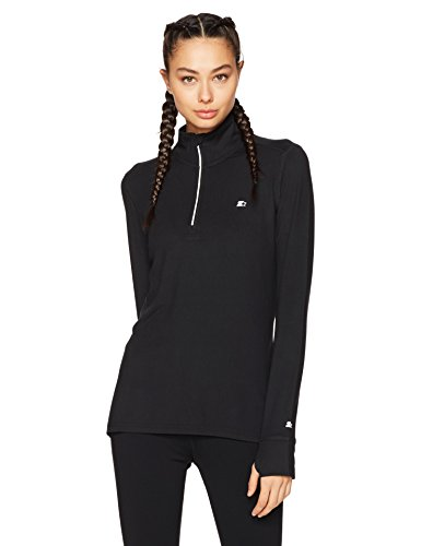 Starter Women's Long Sleeve Half-Zip Top, Amazon Exclusive, Black, Small