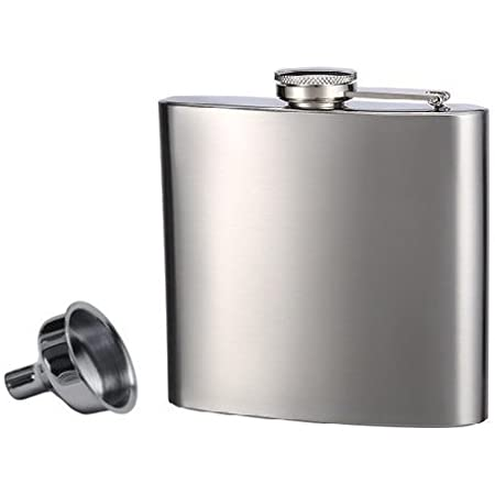 Hip Flask And Refill Funnel Set 6 Oz Easy Pour Laser Welded And Sealed Leakproof Attached Screw On Cap Comes In Gift Box Flasks