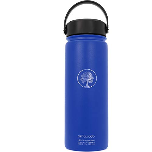 amapodo Trinkflasche - Edelstahl Wasserflasche isoliert mit breiter Öffnung hält Getränke Heiß oder Kalt, Deckel mit Flex Griff, auslaufsicher, spülmaschinenfest, 600ml