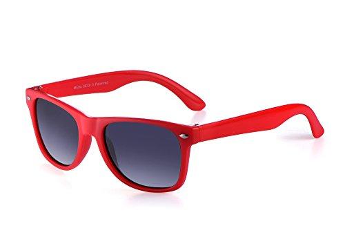 Miuno® - Occhiali da sole polarizzati Dual-Polarized per bambini, mod. Wayfare, con Custodia, rif. 6833A rosso