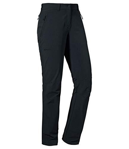 Schöffel Damen Pants Engadin1 strapazierfähige Damen Hose für Wanderungen, wasserabweisende Outdoor Hose mit sportlichem Schnitt,12639, Schwarz, 42