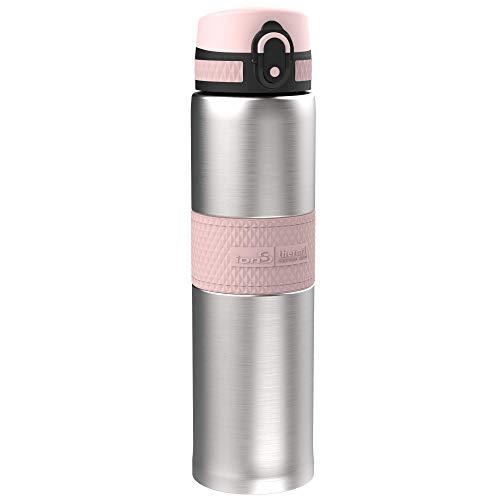 ion8 Auslaufsichere Getränkeflasche, ThermoShield Rostfreier Stahl, 480ml / 16oz (Rosa)