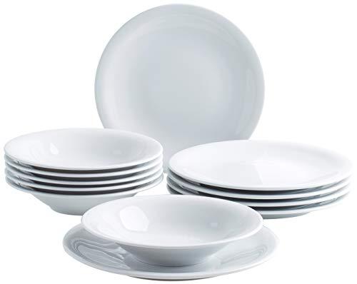 Kahla 320649A90032C Update Tellerset 6 Person Porzellan Geschirrset weiß Teller rund Tafelservice 12-teilig Suppenteller 22 cm großer Speiseteller 27 cm