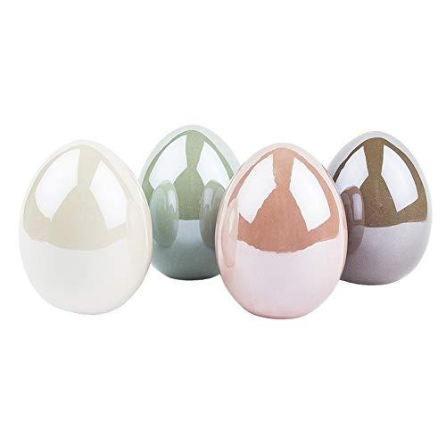 Deko-Eier aus Keramik | Ostereier in Porzellan-Optik | Hochglänzend mit Perlmutt-Effekt (Creme, Taupe, Mint, rosé | 4 Stück | 8 cm hoch, Ø 6 cm)