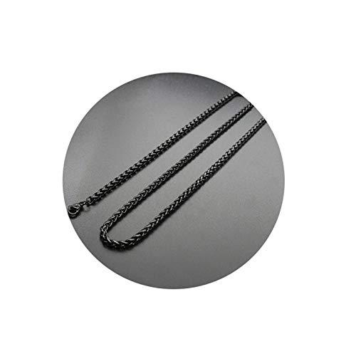 Aeici Collares Hombre Acero Inoxidable Cadena Trigo Collar para Hombres Negro Largo 65 Cm