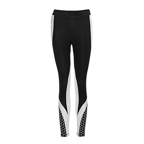 Zarupeng Damen Druckten Sport Yogahose, Lange Stretch Traininghose Fitness Legging Athletische Hosen (M, Schwarz-1)