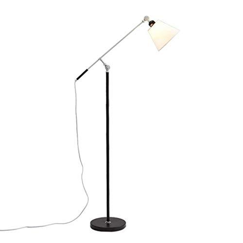 JHSHENGSHI Oficina o Sala de Estudio, Pantalla de Lino para Sala de Estar, iluminación de Lectura Moderna, lámpara de pie de Metal, lámpara de pie con Base de Metal Pesado, Dormitorio -