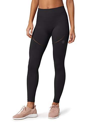Marca Amazon - AURIQUE Mallas de Deporte sin Costuras Mujer, Negro (Black), 42, Label:L