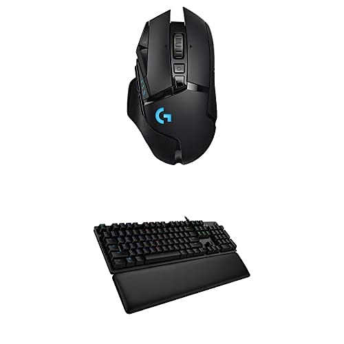 Logitech G513 Carbon LIGHTSYNC RGB Mechanical Gaming Keyboard with GX Brown Switches - Tactile & G502 Lightspeed Wireless Gaming Mouse with Hero 25K Sensor, Tunable Weights and Lightsync RGB - Black