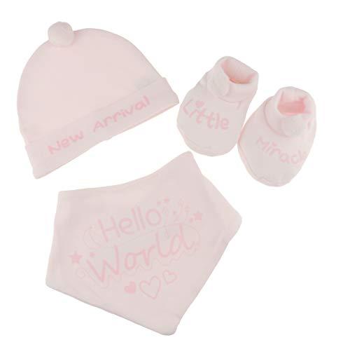 Glamour Girlz Lot de 3 bonnets, chaussons et bavoirs 100 % coton pour bébé fille garçon
