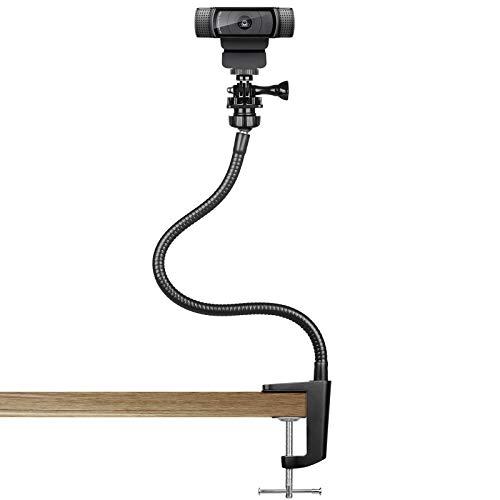 Suporte de webcam de 15 polegadas – suporte de mesa com grampo flexível aprimorado para Logitech Webcam C930e, C930, C920, C922x, C922, Brio 4K, C925e, C615, GoPro Hero 8/7/6/5 da Pipishell