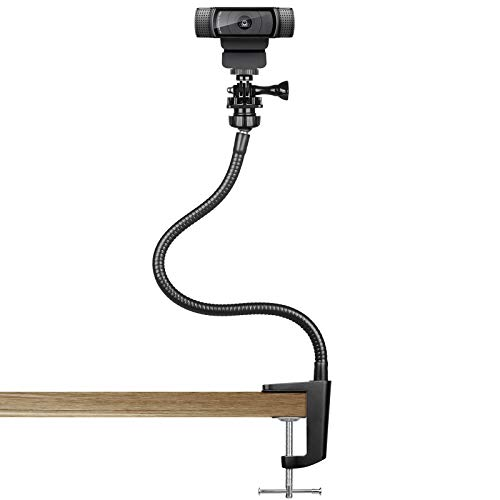 Pipishell Webcam Stand - Enhanced Flexible Desk Mount with Jaws Clamp Clip Gooseneck Webcam Holder for Logitech Webcam C930e,C930,C920, C922x,C922, Brio 4K, C925e,C615, GoPro Hero 8/7/6/5, 15 Inch