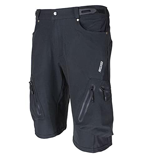 Arsuxeo メンズ サイクルパンツ 吸汗速乾 通気 UVカット 自転車パンツ サイクリングパンツ 2色4サイズ選択可能ブラック XL