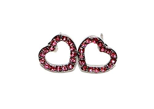 Jewels-Orecchini a perno a forma di cuore, in acciaio chirurgico, per bambina e Acciaio inossidabile, colore: White & Pink, cod. E3001WP