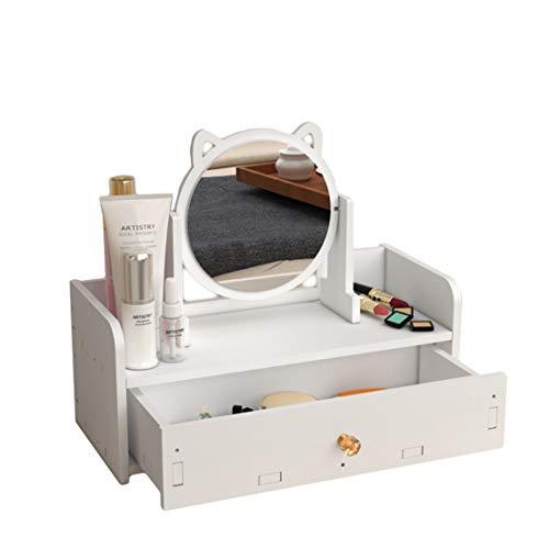 Verve Jelly Kosmetik Organizer Mit Spiegel, 1 Groß Schubladen, Make Up & Schmuckaufbewahrung, HBT 15x14x32cm, Mini Schminktisch PVC Schubladenbox, Weiß
