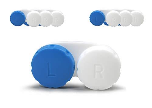 SIAH 6er Set Blau - Hochwertige Kontaktlinsenbehälter mit einem dichten Schraubverschluss und Anti-Haft Oberflächen - Kontaktlinsendose Geeignet für Reisen