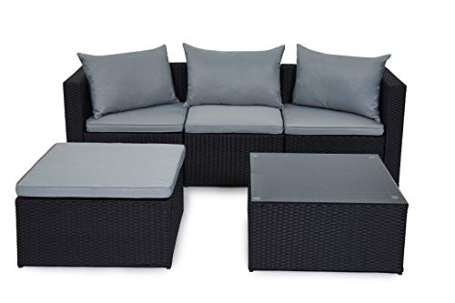 EVRE Outdoor Rattan Garden Furniture Set Malaga Conservatory Patio Sofa coffee table (Black)