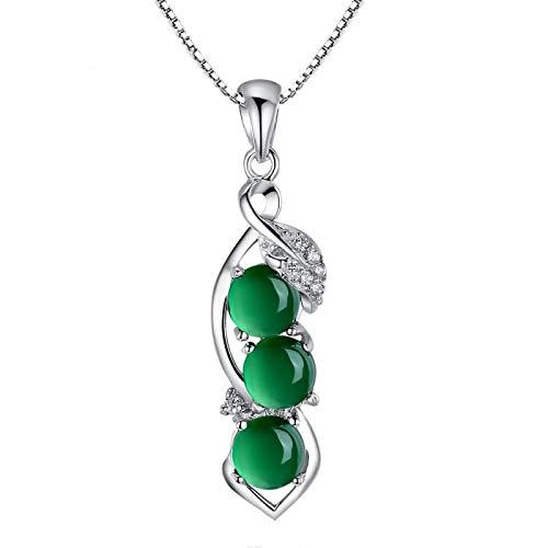 VBN Natural Green Chalcedony String Bean Anhänger, 925 Versilberte Halskette