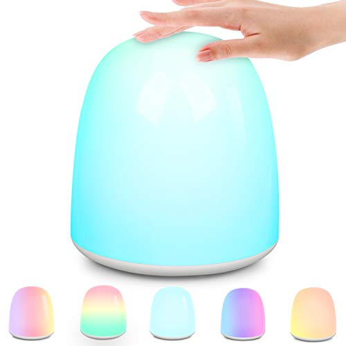 Night Light Baby LED Night Light Child Touch Dimmable Bedside Lamp Mood Light with Eye Gentle Warm Cold Light and 256 RGB Color Change to Sleep Relaxing Entertainment