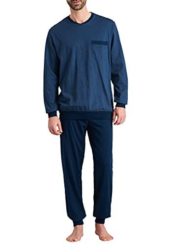 Schiesser Herren Schlafanzug lang Pyjamaset, Jeansblau, 54