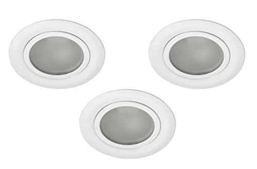 3er Set Möbel Einbaustrahler Möbeleinbauleuchte weiß satinierte Front für 12V G4 LED geeignet AP