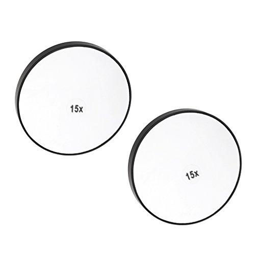 CUTICATE 2X Saugnapfspiegel Kosmetikspiegel Rasierspiegel Mit 3/5/15 Fache Vergrößerung - 15x