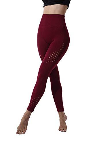 Ducomi SKY Leggins de Fitness para Mujeres - Adelgazamiento de Cintura Alta y Modelado de Efectos Butt Lift - Leggings Elásticos para Curvas Sensacionales - Practicidad y Sensualidad (Rojo, M)