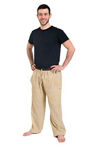 Fantazia - Pantaloni Zen da uomo, in canapa Bharat, taglia unica, 100% cotone, colore: bianco/ecru – Zen naturale, comodi e originali, creati in Francia, fabbricazione etica dal 2004 Blanc / Écru Taglia unica